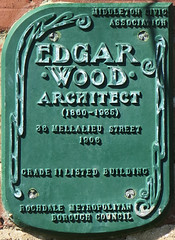 Photo of Edgar Wood green plaque