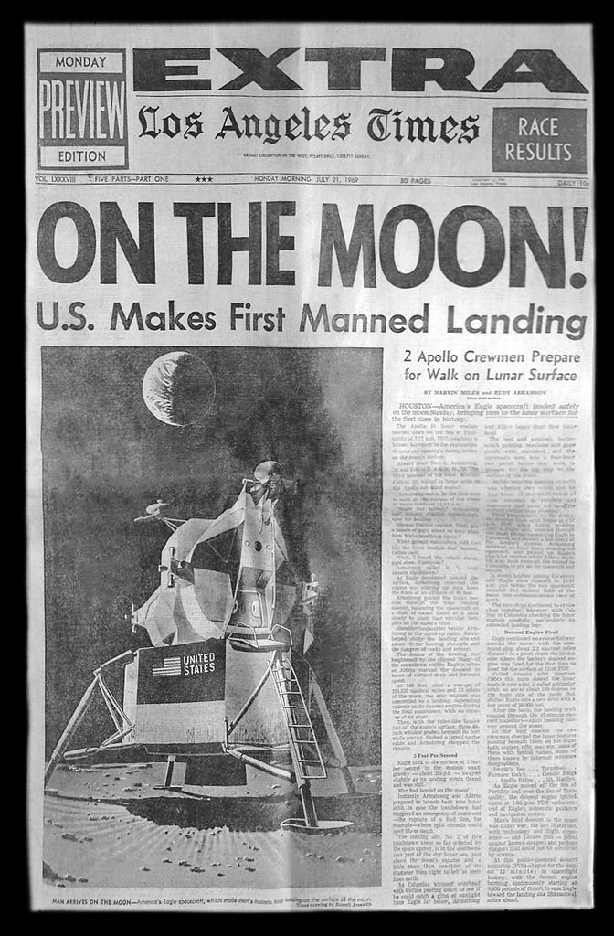 Apollo 11 Moon Landing Los Angeles Times Newspaper July 21 1969
