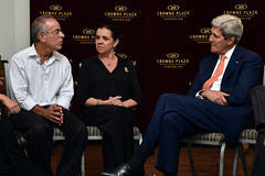 U.S. Secretary of State John Kerry listens as Stewart and Evie Steinberg, whose son Max was an American citizen killed while fighting for the Israeli Defense Force against Hamas in the Gaza strip, recalls for the rest of their family their son's life story before a shiva ceremony in his honor in Jerusalem on July 23, 2014. [State Department photo/ Public Domain]