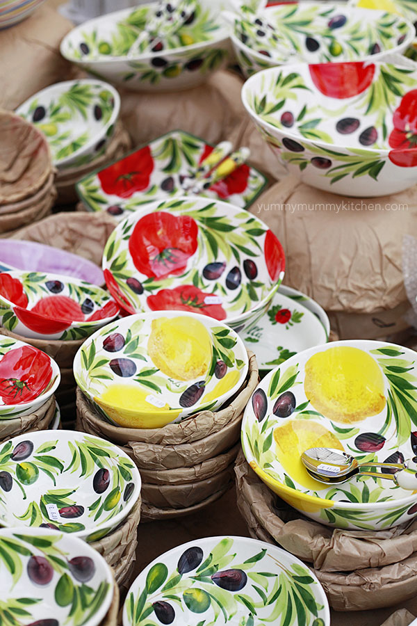 italian pottery at a market in Lazise, Italy