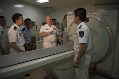 Vice Adm. Matthew Nathan is shown the computerized tomography (CT) scan aboard the People's Liberation Army (Navy) hospital ship Peace Ark (T-AH 866) during a tour at Pearl Harbor. (U.S. Navy/MC2 Amanda R. Gray)
