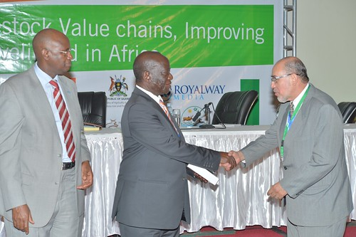 Hope Ruhindi Mwesigye, Minister of Agriculture, Animal Industry and Fisheries and Edward Ssekandi, Vice president of Uganda