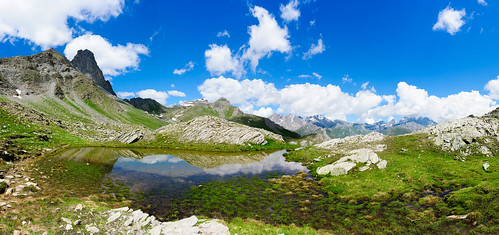 Panorama with Tête Noire and Monte Viso (in the clouds)