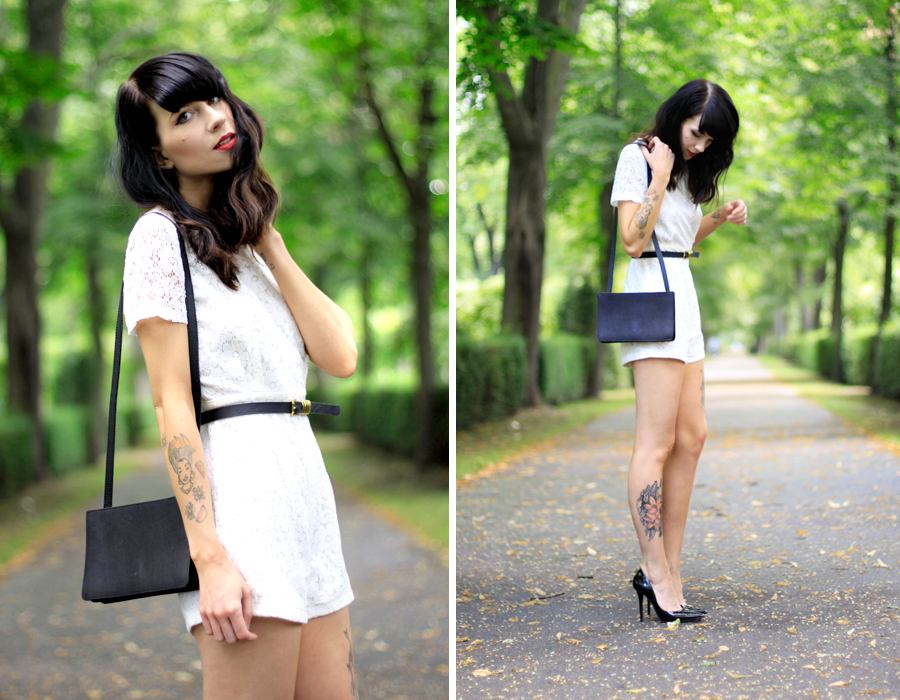 AX Paris white lace short playsuit kaviar gauche inspired chic fashion week berlin outfit ootd fashion blogger Ricarda Schernus CATS & DOGS blog 1