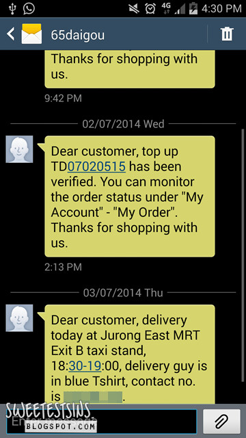 65daigou delivery sms
