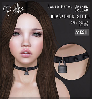 pekka solid metal spiked collar blackened steel