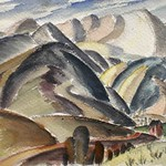Collection of Tracy & Sushe Felix; Pikes Peak and Manitou_ Charles Bunnell_ c.1935_ watercolor_ 7 1_2_x8 3_4_ -