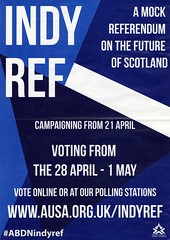 Poster for Mock Independence referendum for Aberdeen University Students' Association 28 April- 1 May 2014