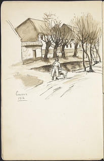 A person pushing a cart down the road in the village of Candas, France [Sketchbook 3, folio 21v] / Personne poussant une charette dans le village de Candas, France [Carnet de croquis 3, folio 21v]