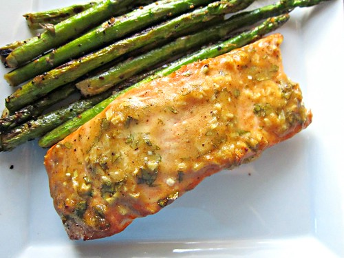 Baked Salmon with Honey Dijon & Garlic