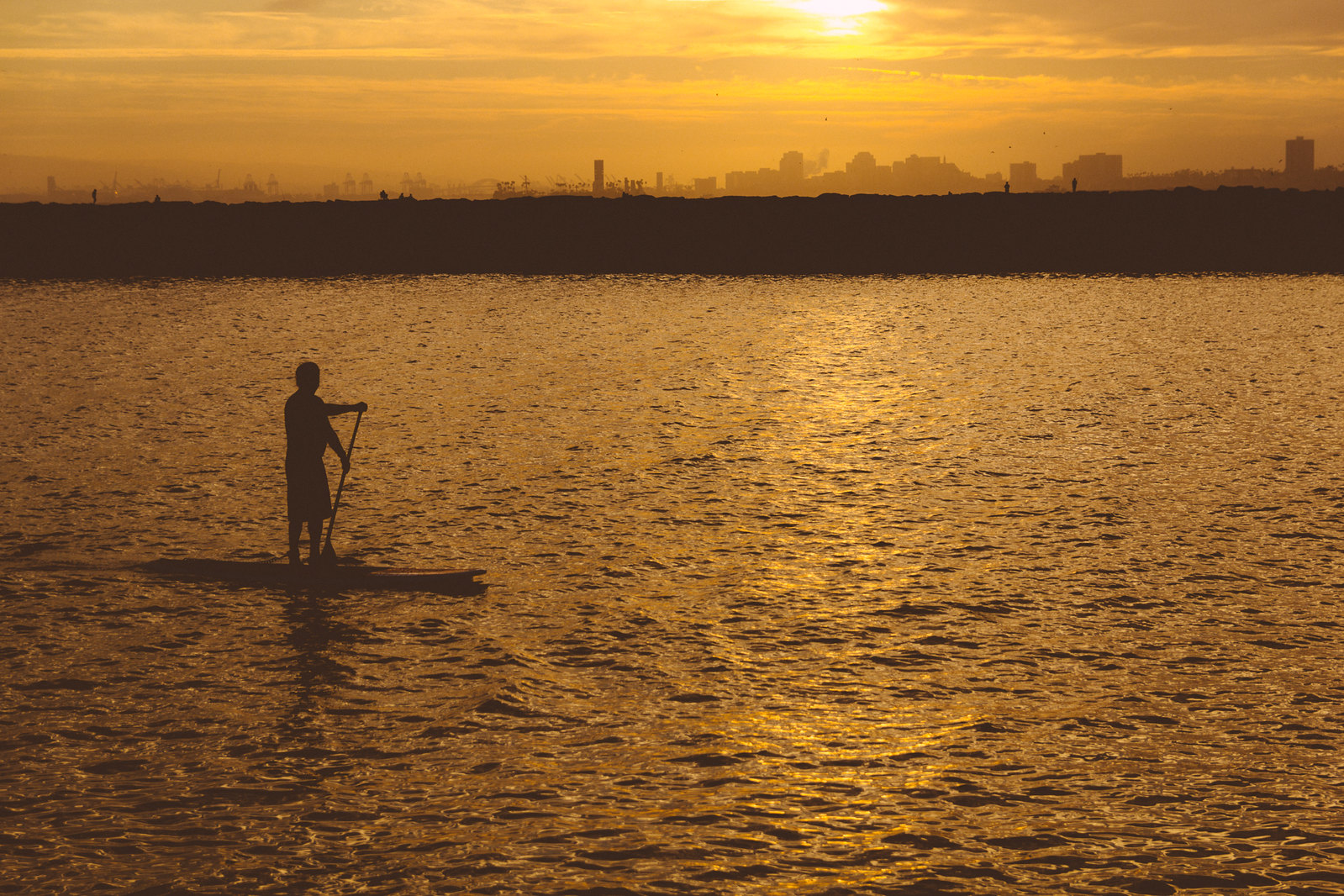 Silhouette Paddle Boarder