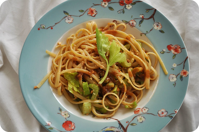 Peanut Noodles with Crunchy Celery & Celery Leaves