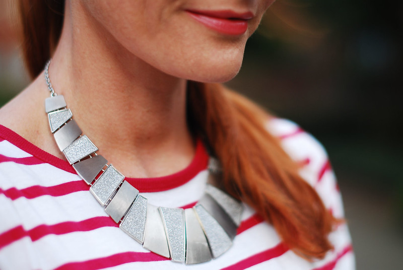 Red Breton stripes and silver statement necklace