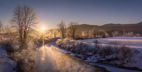 west branch river stowe vt vermont pretty water rime cold winter ice sunrise glow panorama