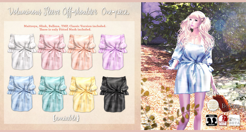{amiable}Voluminous Sleeve Off-shoulder One-piece@the Shiny Shabby March Round(50%OFF SALE). - SecondLifeHub.com