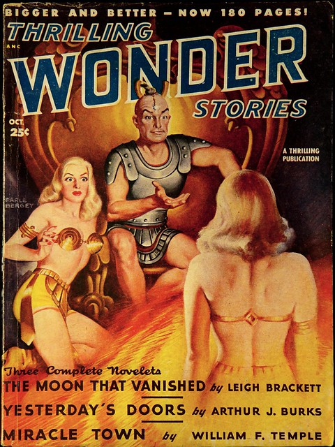 Thrilling Wonder Stories Vol. 33, No. 1 (Oct., 1948). Cover Art by Earle Bergey, illustrating