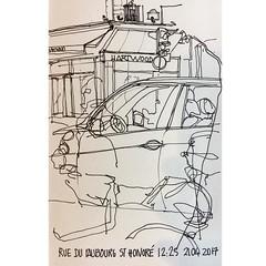 Morning sketch at Starbucks :wink:#julietteplisson #sketch #sketching #sketchbook #paris #parisianlife #blacklines #blackandwhite #urbansketchers #usk