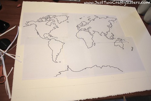 watercolor world map art piece