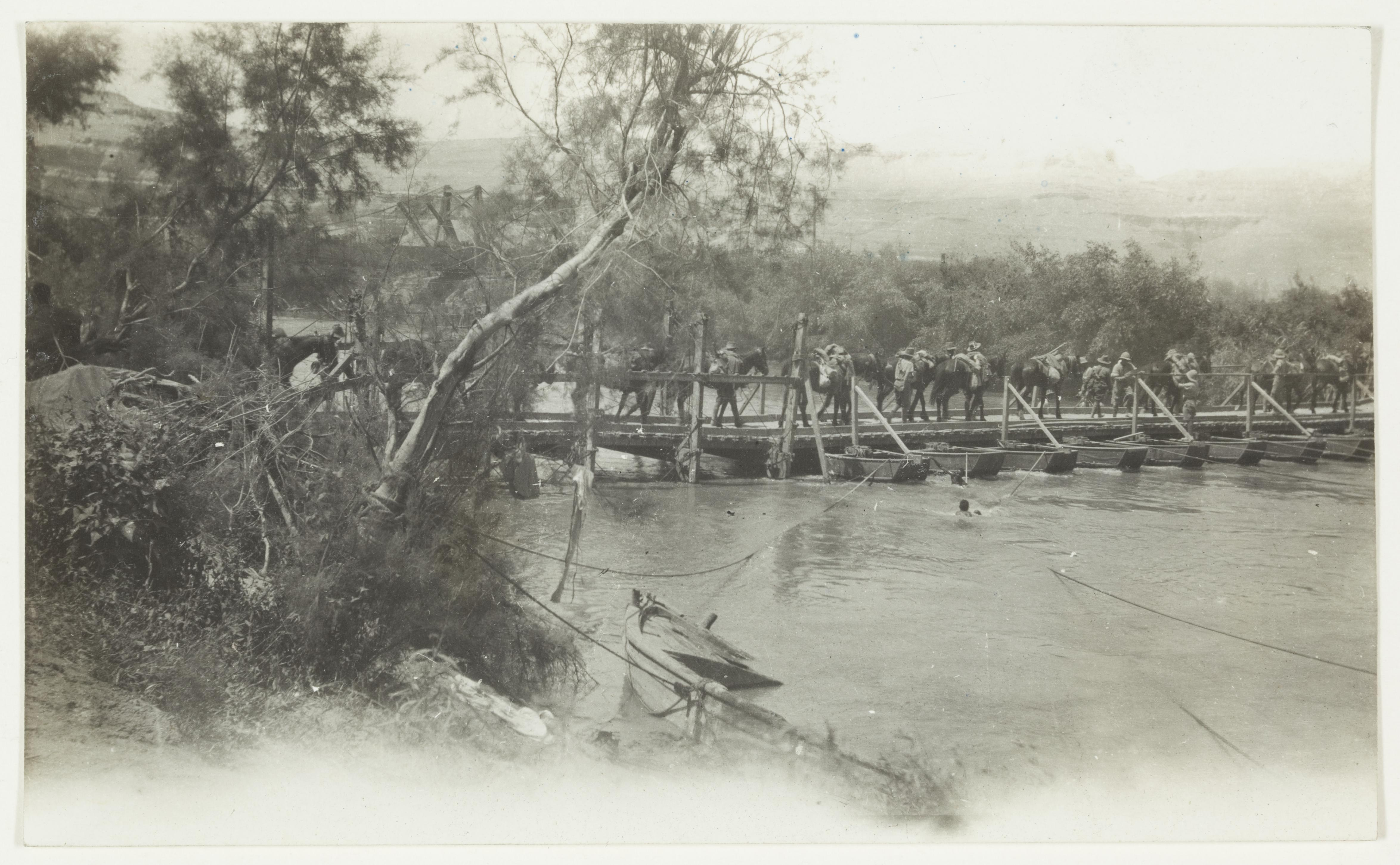 2nd Brigade crossing Jordan River, 2/5/1918  by J.F. Smith of the 7th Light Horse in Egypt and Palestine, c. 1914-1918