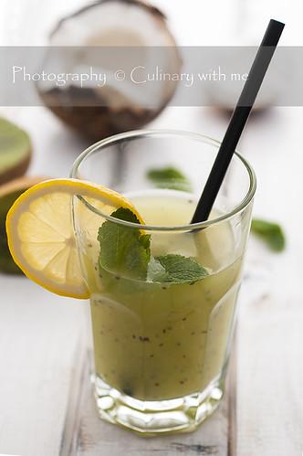 Chia, coconut and kiwi drink