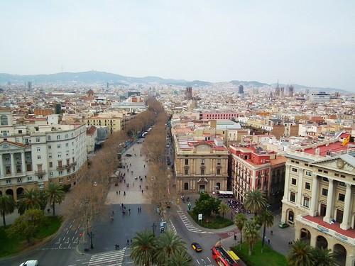 La Rambla from Mirador de Colón - Barcelona, Spain