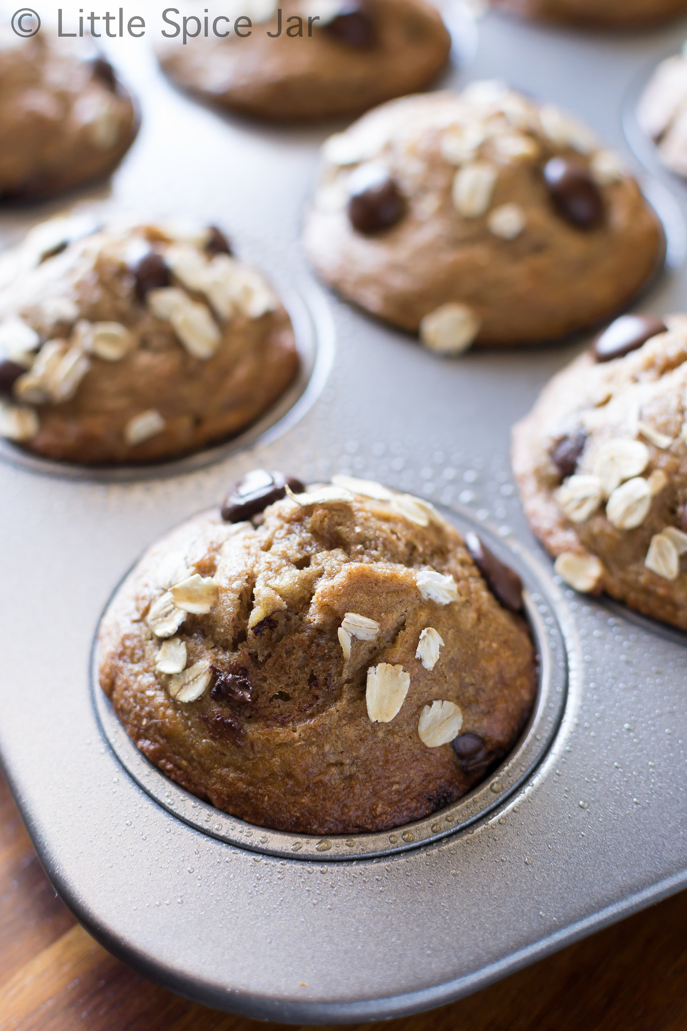 Healthy Chocolate Chip Banana Muffins Baked