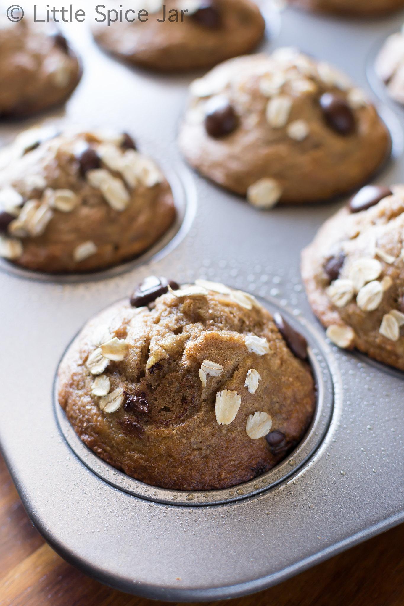 prepared banana muffins on baking pan