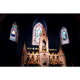 Stained Glass light and Easter Lilies at Morning Service ||