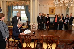 Secretary Kerry Signs the Appointment Papers for Under Secretary Novelli