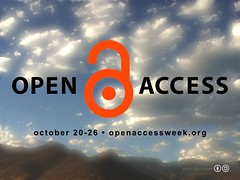 Free Poster for Open Access Week October 20-26 #openaccess #oaweek #oaweek2014 @SPARC_NA @Open_access (Blue Sky Rural Mountains Version @ronmader)