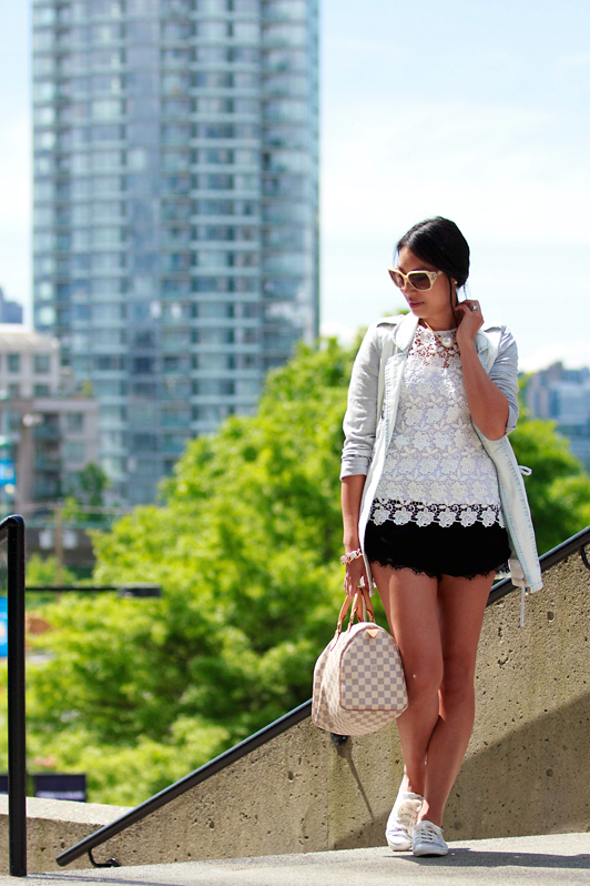 HRH Collection bleached denim jacket, Zara lace top, Zara lace trim shorts, Keds Rally silver chevron sneakers, Louis Vuitton Damier Azur Speedy, spring, Vancouver, fashion, style, blogger