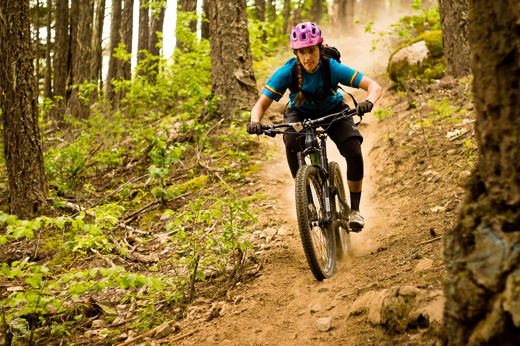 Emily Slaco on the charge on Overnight Sensation, Pemberton Enduro