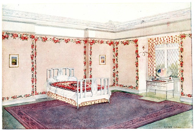 room decorated with wallpaper