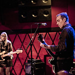 Aimee Mann and Ted Leo in duo form (plus band), in concert for an audience of WFUV members. 5/12/14 at Rockwood Music Hall. Hosted by Eric Holland. Photo by Laura Fedele