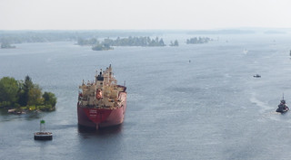 The freighter Federal Kavalina, a 656-foot Hong Kong-flagged vessel, sits in the St. Lawrence Seaway during transit, May 27, 2014. The Federal Kavalina lost power and ran aground near the Thousand Island Bridge. U.S. Coast Guard photo courtesy of the Saint Lawrence Seaway Development Coorporation