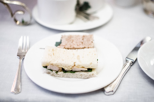 A light chicken and watercress sandwich at Brown's Hotel afternoon tea.