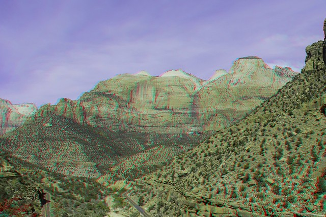 Zion National Park, 3D, Hyperstero, Anaglyph