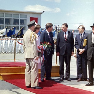 President John F. Kennedy and Others Await Arrival of Habib Bourguiba Sr., President of Tunisia, and His Wife, Moufida Bourguiba