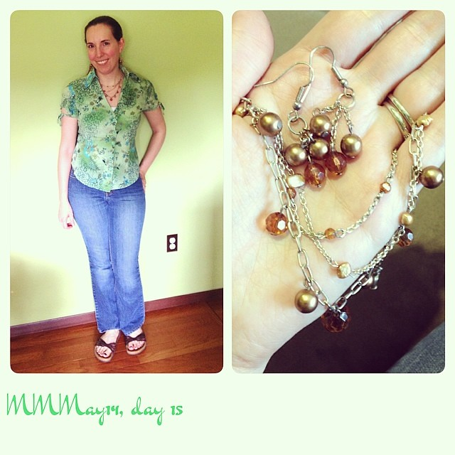 Me-made blouse & jewelry; purchased cami, thrifted jeans, Birkenstocks. #mmmay14