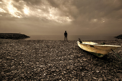 sky seascape beach silhouette clouds boat oman khasab dpslight