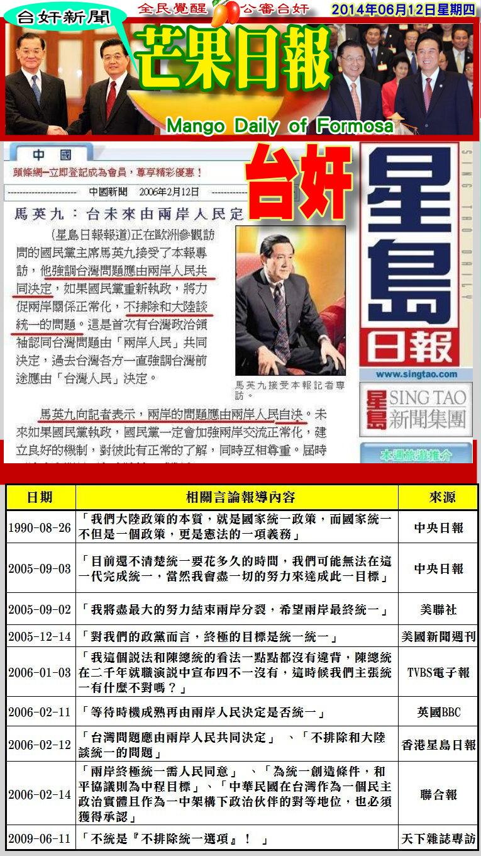 140612芒果日報-台奸新聞--選了台奸當總統,變成中國傳聲筒