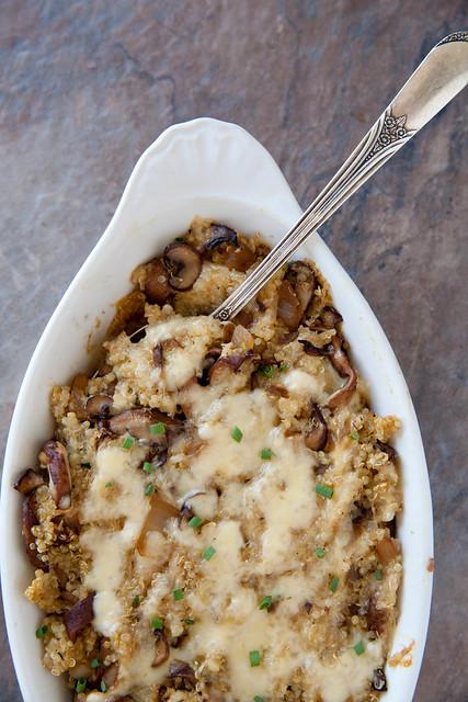 Mushroom Gouda Quinoa Bake