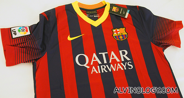 The official FCB jersey that I am giving away, courtesy of Qatar Airways