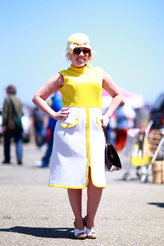 yellow dress street style, street fashion, women, Alameda Flea Market, Quick Shots