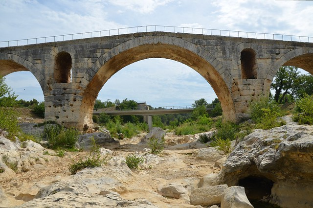 Pont Julien, a 3 BC Roman arch bridge over the Calavon river, built on the Via Domitia, France