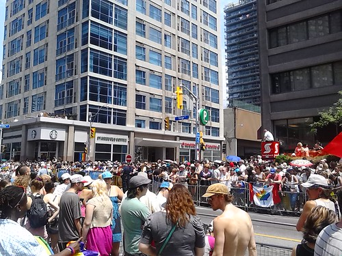 The Pride crowd at Yonge and Wellesley