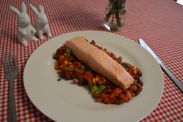 This is a photo of salmon with a bean salsa.