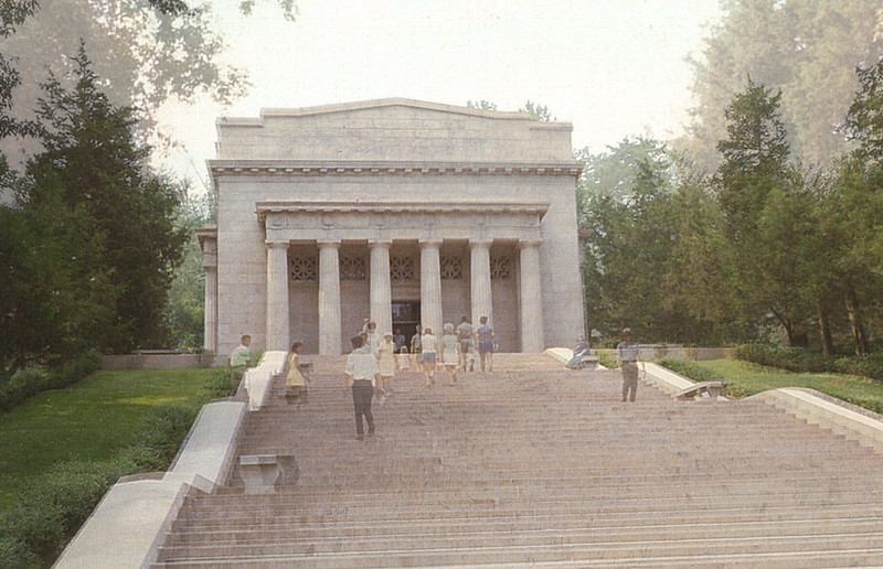 Composite of two shots taken of the front of the Lincoln Birthplace Memorial, in 1970 and 2014