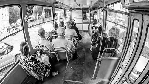 Inside a local tram.