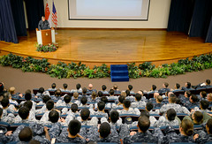 Vice Adm. Robert Thomas addresses U.S. and Republic of Singapore Navy sailors during the CARAT opening ceremony. (U.S. Navy/MC1 Jay C. Pugh)